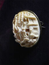 ANTIQUE Victorian CHINESE natural detailed carved big silver frame CAMEO BROOCH