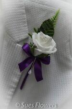WEDDING FLOWERS Single Buttonhole  in Cadburys Purple and White