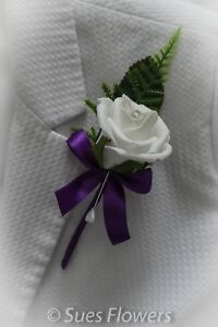 WEDDING FLOWERS Single Buttonhole/ corsage   in Cadburys Purple and White