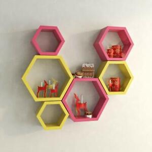 Hexagon Designer Storage Shelf, Set of 6 (Pink and Yellow)