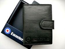 Lambretta Schwarz Leder Multi Card/ID Wallet-in Geschenkbox-Karteninhaber NEU