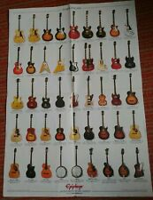 Vintage Gibson Epiphone Guitar Bass 2-sided Poster & Sticker