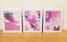 3 x Athena WaterColour Framed Prints Poster Home Decor Art A3 Pink Purple