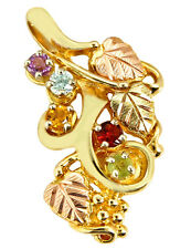 Women's Natural Mined Gemstone 5 Stone Pendant in 10k Solid Yellow Gold