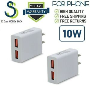2x 10W DUAL USB Wall Charger Cube for Apple iPad 2 3 4 Air 1 2 Mini 2/3/4 [SS10