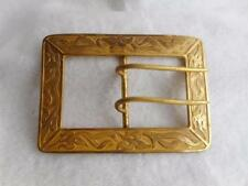 Floral Frame Huge Belt Buckle Antique Art Nouveau Gilt Brass Scrolling