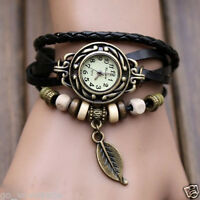 Leather Band Fashion Women's Analog Quartz Casual Bracelet Wrist Watches Black