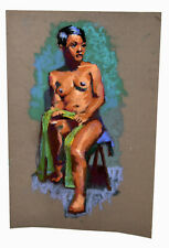 """18"""" Pastel Drawing Nude Black Woman Seating Sand Paper Shannon Brickey Art Decor"""