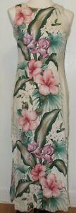 Liberty House YOUNG HAWAII Cotton Barkcloth Floral Maxi Dress - Size SMALL