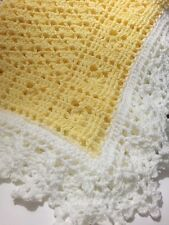 Crochet Sweet Dreams Baby Blanket Afghan Pastel Yellow And White