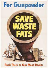 Original WW2 poster World War II Propaganda SAVE WASTE FATS WWII Large Poster