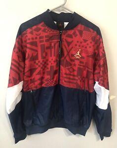 Air Jordan Flight Legacy FIBA Jacket Red/White/Blue CJ9082-451 Men's Size Small