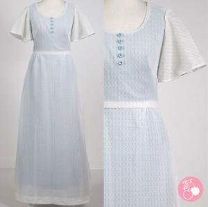 WHITE LACE, BLUE BUTTON DETAIL, FLARED SLEEVE 1960s VINTAGE BOHO MAXI DRESS 8