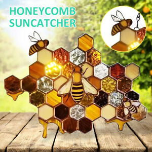 Honeycomb Hanging Stained Glass Bee Window Panel Garden Home Decor Pendant