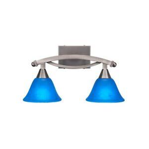 "Toltec Lighting Bow 2 Light Bath Bar, 7"" Blue Italian Glass - 172-BN-4155"