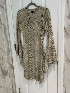 KAMALIKULTURE X Norma Kamali Cream Snakeprint Accent Sleeve Dress Size XS