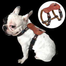 Genuine Leather Small Dog Harness Soft Adjustable for Chihuahua French Bulldog