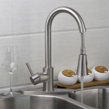 U.S Kitchen Pull Out Mixer Faucet Basin Sink Taps With Cover Plat Brushed Nickel