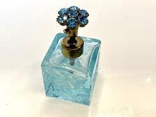 Perfume Bottle Vintage Aqua Blue Glass, Floral Cut Glass Top, West Germany