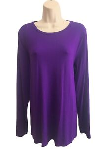 NEW WT Eileen Fisher -Size L - Lightweight Viscose Jersey Long Sleeve T-Shirt