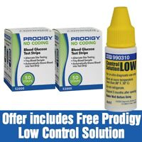 100 Prodigy  Blood Glucose Test Strips (2 boxes) free Control sol  exp 11/1/20