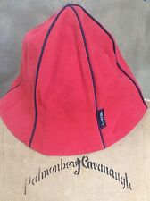 ARMANI JEANS ITALY Womens CANVAS HAT Tomato RED Navy Piping Trim RARE TULIP Bell