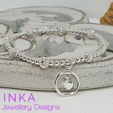Inka 925 Sterling Silver Textured beaded Stacking Bracelet  dangle Heart charm