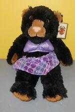 """New Bear Factory Signature Collection 15"""" Black Leopard Cat Purple Bathing Suit"""