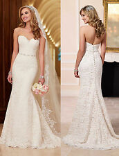 Strapless Mermaid white/ivory Lace Wedding Dress Sash Bridal Gown Custom size