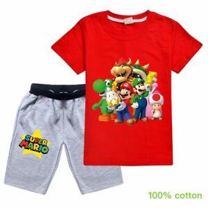 Super mario Bowser Cotton Short Sleeve T-shirt+Pant Clothing Set Boys Kids Gifts