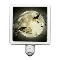 Spooky Halloween Crow and Bats Moon Night Light
