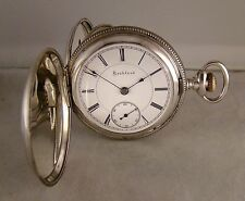 134 YEARS OLD ROCKFORD 15j MODEL 6 STERLING SILVER HUNTER CASE 18s POCKET WATCH