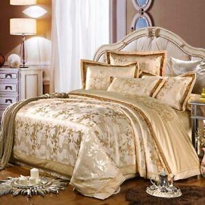 4Pcs Luxury Satin Jacquard Bedding Sets  Duvet Cover Bed Sheet Set Pillowcase