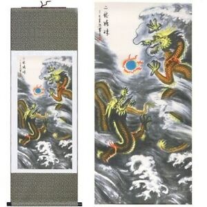Chinese Two Dragons Battle for Pearl Painting Prints Silk Scroll Large