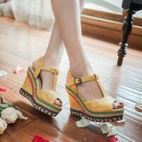 Gladiator Womens Peep Toe T-Strap Wedge Heels Platform Pumps Sandals Shoes Party