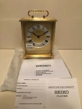 Seiko Desk And Table Carriage Clock Gold-Tone Solid Brass New Open Box