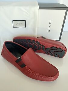 NIB Gucci Mens Leather Loafer Web Stripe Driver Shoes Red 8.5 US (7.5 UK) 363835