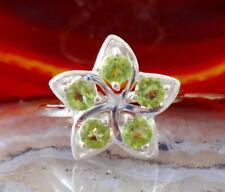 Anillo Flor Flores Peridot Verde Piedra de Agosto Plata Esterlina 925