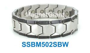 *** EXTRA WIDE *** Magnetic Men's stainless steel link bracelet 5000 Gauss Black
