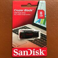 NEW SanDisk 8GB Cruzer Blade USB Flash Pen Drive Memory Stick Thumb Drive UK