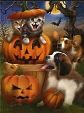 New Evergreen 12.5 X 18 Halloween Garden Flag Pumpkin Pets Dogs, Kittens, Bats