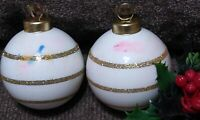 Vintage Christmas Ornament Glass Balls White Gold Glitter caps Stripes lot of 2
