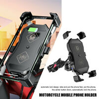 Motorcycle Bicycle MTB 15W Wireless + QC 3.0 USB Charger Handlebar Mount Holder