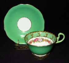 Aynsley Bone China, England, Green Rim, Flowers, B3028, Cup & Saucer Set