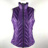 Eddie Bauer Womens M Purple Zip Knit Pattern EB700 Down Fill Puffer Vest