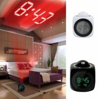 Alarm Clock LED Wall/Ceiling Projection LCD Digital Voice Talking Temperature US