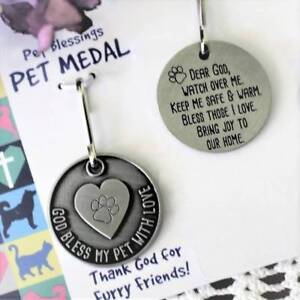 Pet Medal Tag Charm Heart God Bless My Pet Keep Me Warm Cat Dog 7/8 inch Pot Met