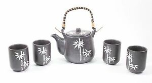 "6"" Black Bamboo Rattan Japanese Ceramic Tetsubin Teapot Teacups Infuser Tea Set"