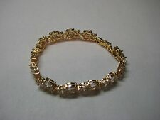 Tennis Bracelet with 10.55ct White Sapphire in 14k Yellow Gold Filled