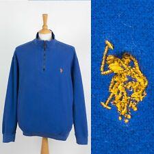 MENS U.S POLO ASSN. 1/4 ZIP SWEATSHIRT SWEATER BLUE ZIP NECK CASUAL LARGE L